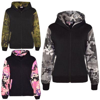 A2Z Trendz Boys Girls Jackets Kids Camouflage Print Fleece Hooded Hoodie Zipped Top Jackets New Age 7-13 Years