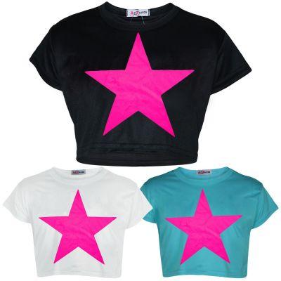 A2Z Trendz Kids Girls Crop Top Designer's Star Print Stylish Trendy Fashion T Shirt Tops New Age 5 6 7 8 9 10 11 12 13 Years