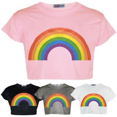 A2Z Trendz Kids Girls Crop Tops Rainbow Print Stylish Fahsion Trendy T Shirt Tank Top & Tees New Age 5 6 7 8 9 10 11 12 13 Years