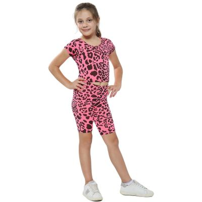 A2Z Trendz Kids Girls Crop Top & Cycling Shorts Neon Pink Leopard Print Trendy Fashion Summer Clothing Outfit Crop & Short Sets New Age 5 6 7 8 9 10 11 12 13 Years