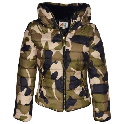 A2Z Trendz Girls Jacket Kids Stylish Padded Camouflage Print Puffer Bubble Fur Collar Quilted Warm Thick Coat Jackets 3 4 5 6 7 8 9 10 11 12 13 Years