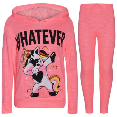A2Z Trendz Kids Girls Tracksuit Designer's Whatever Dabbing Unicorn Floss Neon Pink Two Piece Hooded Top & Bottom Legging Sets Loungewear Nightwear Outfit Set New Age 7 8 9 10 11 12 13 Years