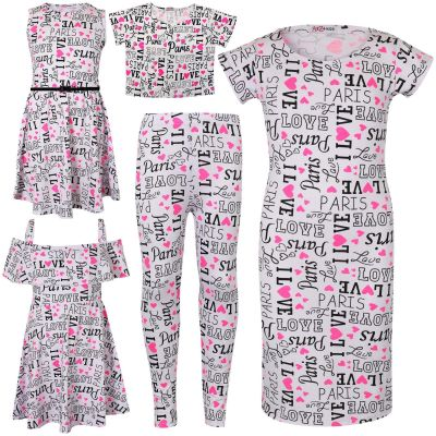 Kids Girls I Love Paris Print Summer Crop Top Legging & Dresses