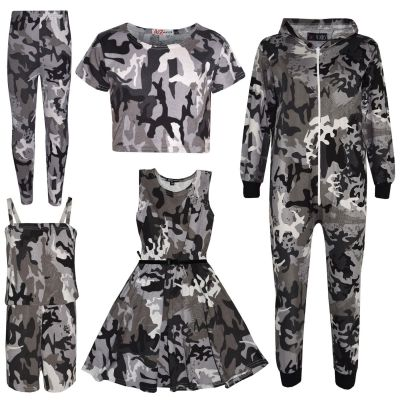 A2Z Trendz Girls Top Kids Camouflage Print Crop Top Legging Midi Dress New Age 7 8 9 10 11 12 13 Years