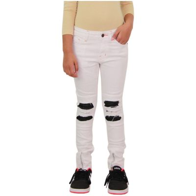 A2Z Trendz Kids Girls Stretchy Jeans Designer's White Ripped Knee Drape Panel Denim Pants Fit Trousers New Age 5 6 7 8 9 10 11 12 13 Years