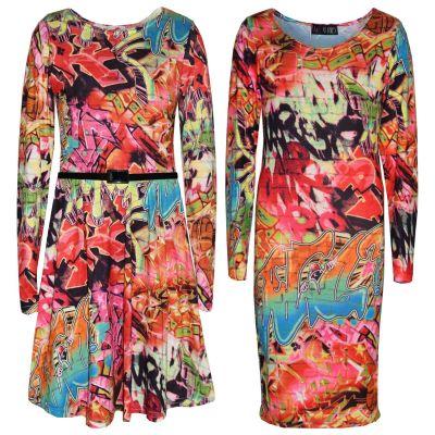 A2Z Trendz Girls Dress Kids Comic Graffiti Print Fashion Swing Midi Skater Dresses Top Age 7 8 9 10 11 12 13 Years