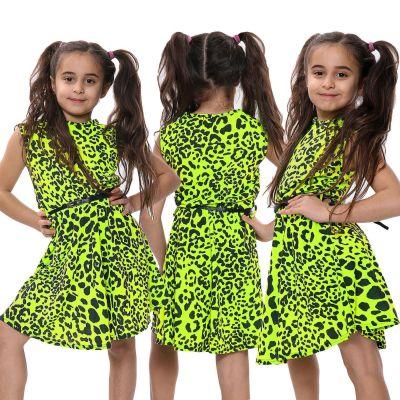 Girls Skater Dress Leopard Print Neon Yellow Dance Party Summer Fashion