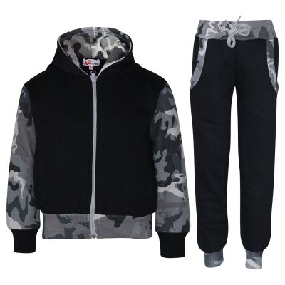 A2Z Trendz Kids Boys Girls Tracksuit Designer Plain Contrast Black & Camouflage Charcoal Fleece Hooded Hoodie Bottom Jogging Suit Joggers Age 2 3 4 5 6 7 8 9 10 11 12 13 Years
