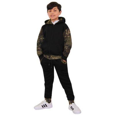 A2Z Trendz Kids Boys Girls Tracksuit Designer Plain Contrast Black & Camouflage Green Fleece Hooded Hoodie Bottom Jogging Suit Joggers Age 2 3 4 5 6 7 8 9 10 11 12 13 Years