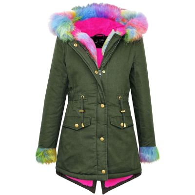 A2Z Trendz Kids Girls Jacket Designer Rainbow Faux Fur Hooded Parka School Jackets Outwear Coats New Age 5 6 7 8 9 10 11 12 13 Years