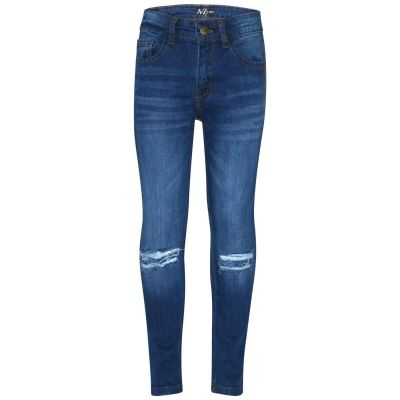 A2Z Trendz Kids Boys Skinny Jeans Designer Mid Blue Denim Knee Ripped Fashion Bikers Pants Stylish Faded Bottom Slim Fit Adjustable Waist Trousers New Age 5 6 7 8 9 10 11 12 13 Years