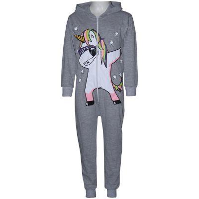 A2Z Trendz Kids Girls 100% Cotton Onesie Grey Dabbing Unicorn & Starts Print All In One Jumpsuit Playsuit Nightwear New Age 5 6 7 8 9 10 11 12 13 Years