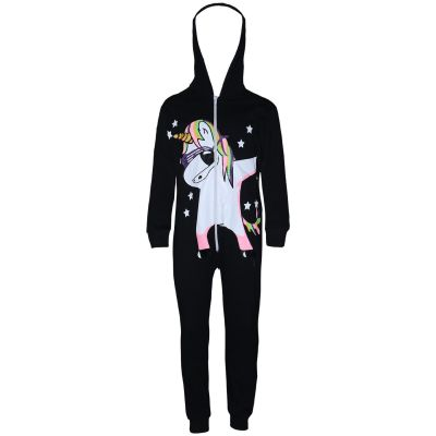 A2Z Trendz Kids Girls 100% Cotton Onesie Black Dabbing Unicorn & Starts Print All In One Jumpsuit Playsuit Nightwear New Age 5 6 7 8 9 10 11 12 13 Years