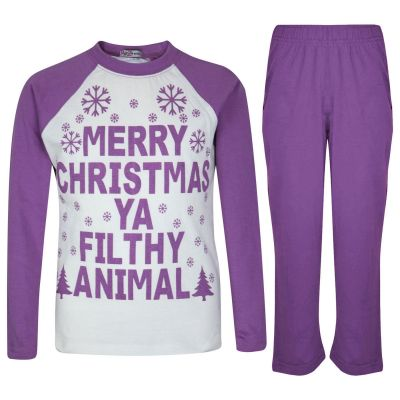 A2Z Trendz Kids Girls PJS Merry Christmas Ya Filthy Animal Print Lilac Christmas Pajamas Set Age 2 3 4 5 6 7 8 9 10 11 12 13 Years