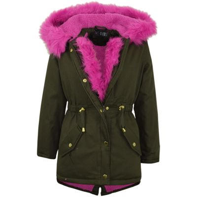 A2Z Trendz Kids Hooded Jacket Girls Cerise Fur Parka School Jackets Outwear Coat New Age 7 8 9 10 11 12 13 Years