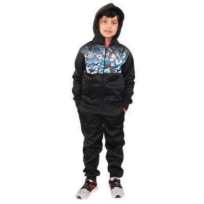A2Z Trendz Kids Boys Girls Tracksuit Blue Camouflage Panelled Hooded School Fashion Zipped Top & Bottom Gym Wear Workout Jogging Suit Sports Joggers New Age 5 6 7 8 9 10 11 12 13 Years