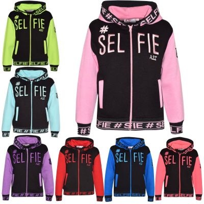 A2Z Trendz Kids Girls Boys Jackets Designer's #Selfie Embroidered Tredny Fashion Zipped Top Hooded Hoodie Stylish Coat Age 5 6 7 8 9 10 11 12 13 Years