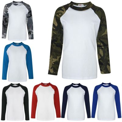 A2Z Trendz Kids Boys Girls T Shirts Designer's 100% Cotton Plain Baseball Long Raglan Sleeves Team Sports Tee Soft Feel Casual T-Shirts New Age 2 3 4 5 6 7 8 9 10 11 12 13 Years