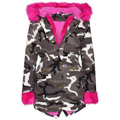 A2Z Trendz Kids Girls Jacket Designer's Camouflage Cerise Pink Faux Fur Hooded Parka School Jackets Outwear Coats New Age 2 3 4 5 6 7 8 9 10 11 12 13 Years