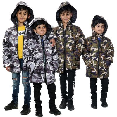 Kids Boys Jacket Camouflage Hooded Padded Quilted Jackets Warm Thick Coats.