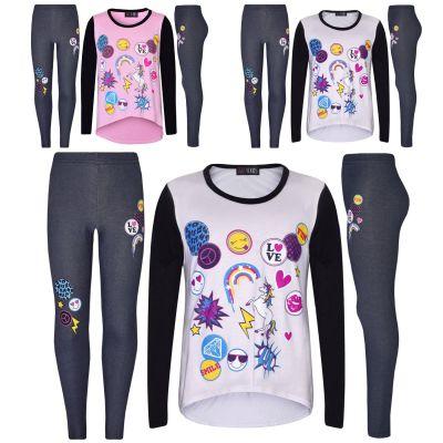A2Z Trendz Girls Top Kids Unicorn Love Fun Lol Smile Emojis Print Trendy T Shirt Top & Fashion Jegging Set Age 7 8 9 10 11 12 13 Years