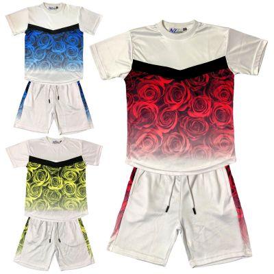A2Z 4 Kids Kids Boys Girls T Shirt Short Set Designer's Flower Two Tone Fade Gradient Print T-Shirt Top Tees & Shorts Set Age 5 6 7 8 9 10 11 12 13 Years
