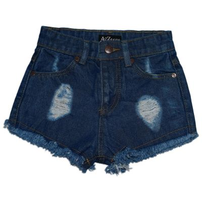 A2Z Trendz Kids Girls Shorts Mid Blue Bermuda Skinny Ripped Jeans Hot Pants Summer Denim Chino Short Casual Half Pant New Age 3 4 5 6 7 8 9 10 11 12 13 Years