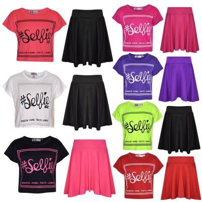A2Z Trendz Girls Top Kids Selfie Print Stylish Crop Top & Fashion Skater Skirt Set New Age 7 8 9 10 11 12 13 Years