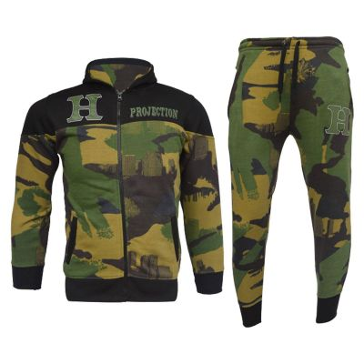 A2Z Trendz Boys Tracksuits Kids HNL Green Camouflage Hoodie Top & Bottom Pullover Jogging Suits Gym Wear Outfit Joggers New Age 7 8 9 10 11 12 13 Years