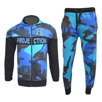 A2Z Trendz Kids Boys Girls Tracksuits HNL Royal Blue Camouflage Hoodie Top & Bottom Pullover Gym Wear Jogging Suits Outfit Joggers New Age 7 8 9 10 11 12 13 Years