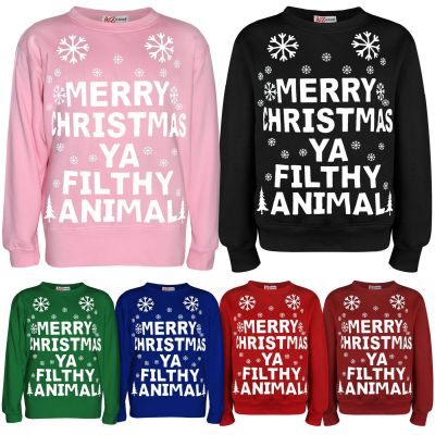 "Girls Boys Christmas Jumper Novelty "" Merry Christmas Ya Filthy Animal "" Sweater Age 7-13 Years"