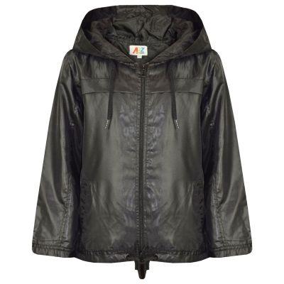 A2Z Trendz Girls Boys Raincoats Jackets Kids Black Lightweight Kag Mac Waterproof Hooded Jacket Cagoule Rain Mac Age 5 6 7 8 9 10 11 12 13 Years
