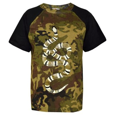 A2Z Trendz Kids Boys T Shirt Tops Designer's Camouflage Snake Green & Black Contrast Panel 100% Cotton T-Shirts Age 5 6 7 8 9 10 11 12 13 Years