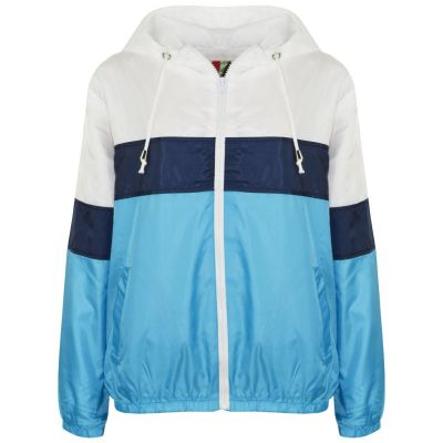 A2Z Trendz Kids Girls Boys Windbreaker Jackets Designer's Contrast Block Turquoise Light Weight Waterproof Hooded Cagoule Rain Mac Raincoat Age 5 6 7 8 9 10 11 12 13 Years