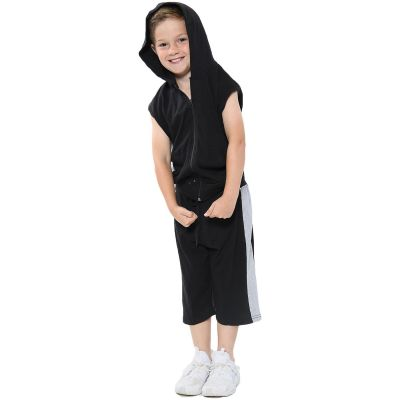 A2Z Trendz Kids Girls Boys Shorts Set 100% Cotton Contrast Panelled Black & Grey Trendy Fashion Gilet Top & Short Pants Sportswear Outfit Clothing Sets New Age 5 6 7 8 9 10 11 12 13 Years