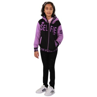 A2Z Trendz Kids Girls Jackets Designer's #Selfie Embroidered Fashion Lilac Zipped Top Hooded Hoodie Stylish Coat Age 5 6 7 8 9 10 11 12 13 Years