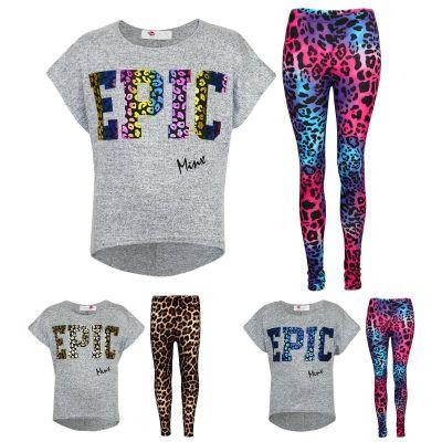 """Kids Girls """" EPIC """" Printed Stylish Crop Top & Fashion Legging Set Age 7 8 9 10 11 12 13 Years"""