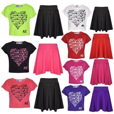 A2Z Trendz Girls Top Kids Love Print Stylish Crop Top & Fashion Skater Skirt Set New Age 6 7 8 9 10 11 12 13 Years
