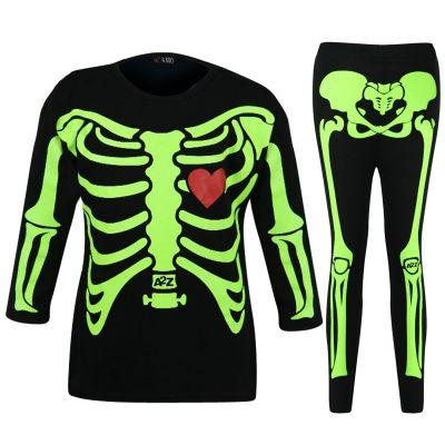 Kid Girls Skeleton Black & Neon Green Print Halloween T Shirt Top & Legging Set