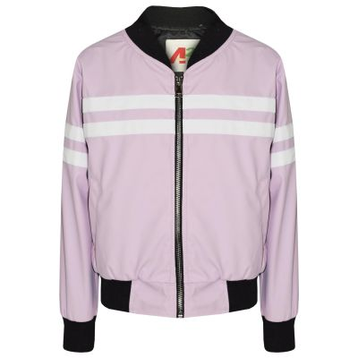 A2Z Trendz Kids Girls PU Jackets Contrast Striped Lilac Zip Up Mock Neck Varsity Baseball Fashion School Jacket Bikers Coats New Age 5 6 7 8 9 10 11 12 13 Years