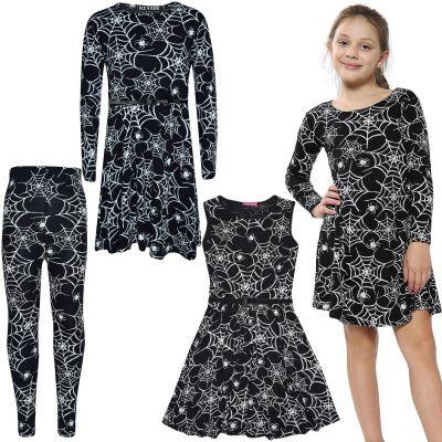 Girls Spider Web Print Halloween Dresses