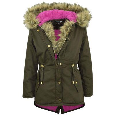 A2Z Trendz Kids Hooded Jacket Girls Leopard Fur Parka School Jackets Outwear Coat New Age 7 8 9 10 11 12 13 Years