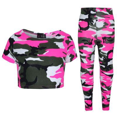 A2Z Trendz Girls Top Kids Camouflage Print Trendy Crop Top & Fashion Legging Set New Age 7 8 9 10 11 12 13 Years