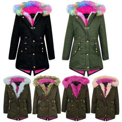 A2Z Trendz Kids Hooded Jacket Girls Fur Parka School Jackets Outwear Coat New Age 7 8 9 10 11 12 13 Years