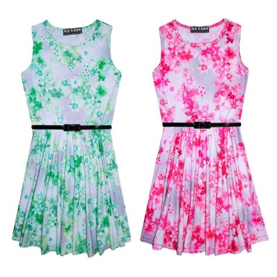 Girls Skater Dress Kids Mini Floral Print Summer Party Dresses New Age 7 8 9 10 11 12 13 Years