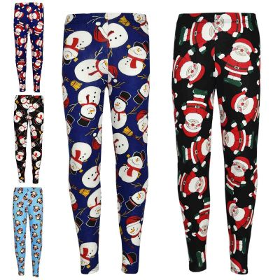 Kids Girls Christmas Legging Santa Snowman Penguin Print Xmas Fashion Leggings New Age 7 8 9 10 11 12 13 Years