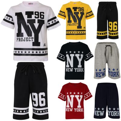 A2Z Trendz Kids Boys Girls T Shirt Short Set Designer's 100% Cotton NY New York Print T-Shirt Top & Shorts Set Age 5 6 7 8 9 10 11 12 13 Years