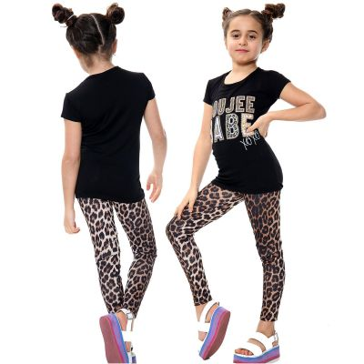 Girls Outfits Boujee Babe Print Black Top Tees & Leopard Legging Sets.