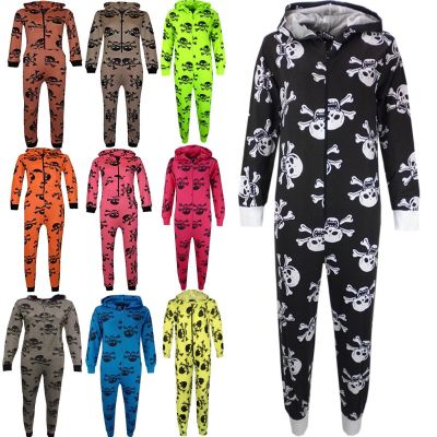 Kids Unisex Girls Boys Skull & Cross Bone Onesie All In One Halloween Costume Jumpsuit PJ's Age 5-13 Years