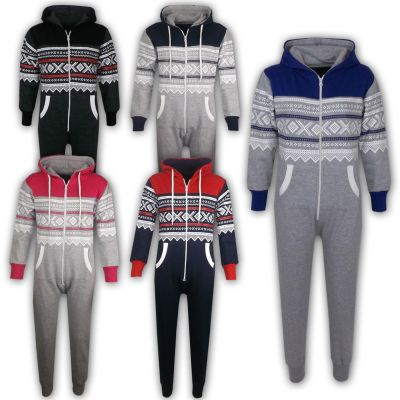 A2Z Trendz Kids Girls Boys Aztec Snowflake Print Hooded Onesie All In One Jumpsuit Age 5-13 Years